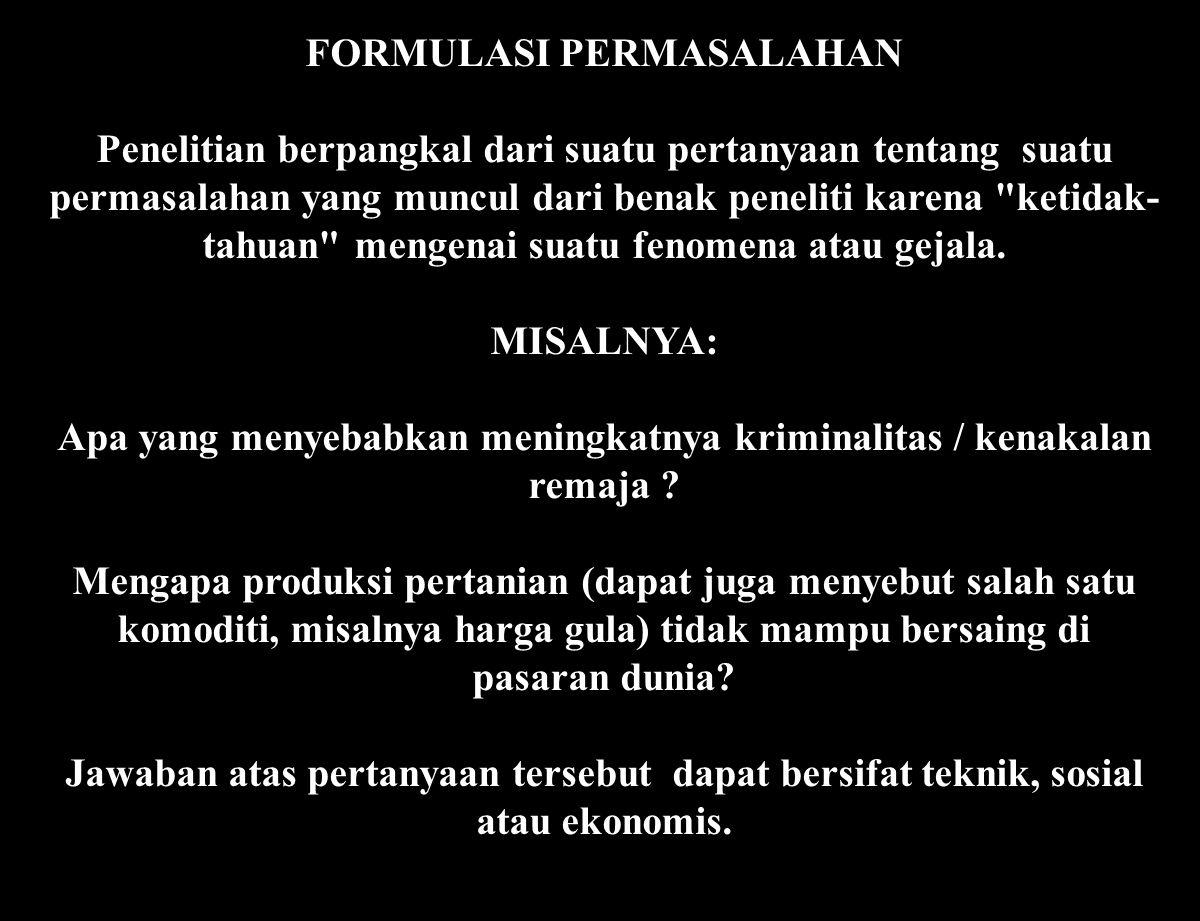 FORMULASI PERMASALAHAN