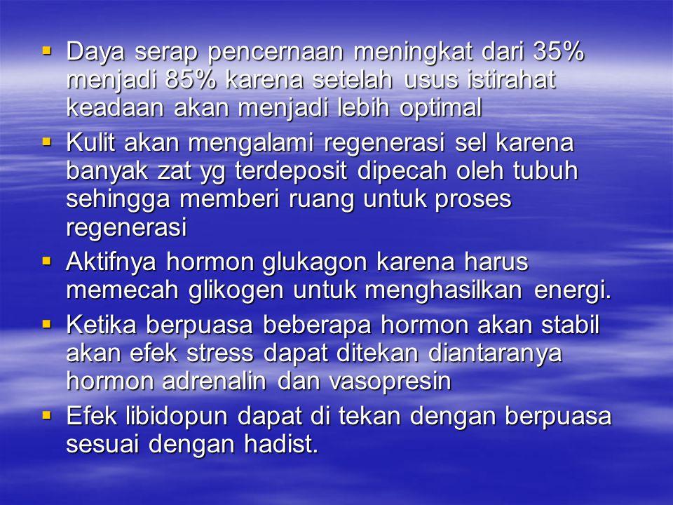 Daya serap pencernaan meningkat dari 35% menjadi 85% karena setelah usus istirahat keadaan akan menjadi lebih optimal