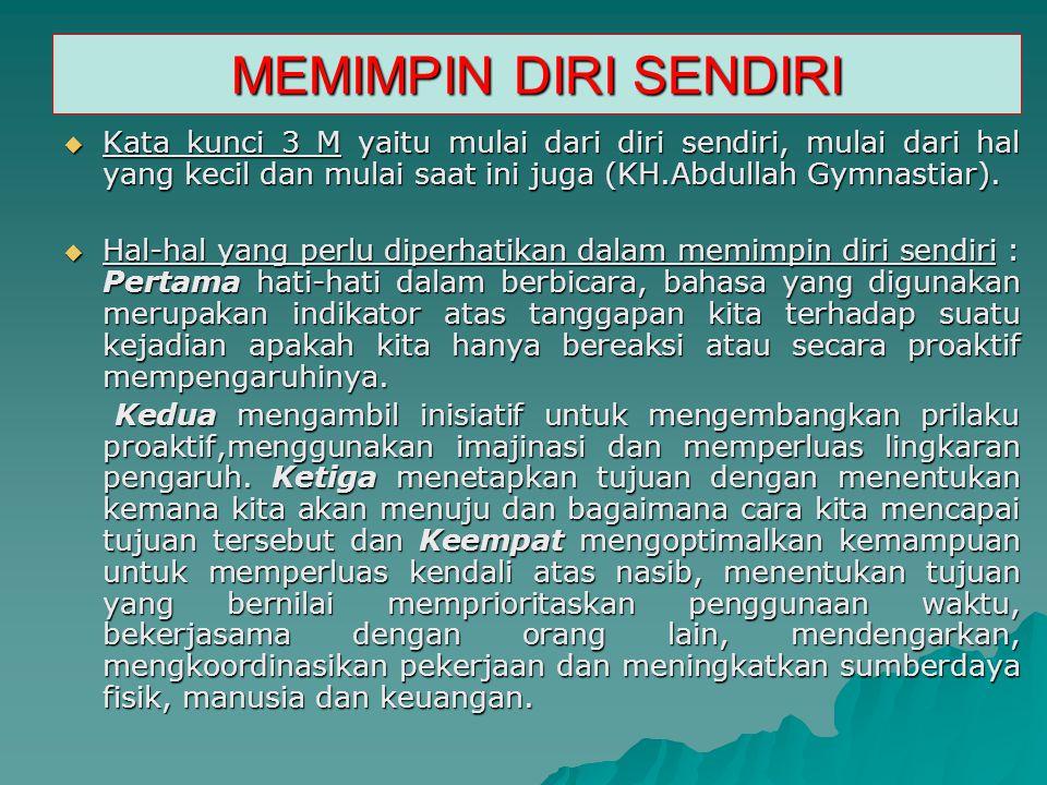MEMIMPIN DIRI SENDIRI Kata kunci 3 M yaitu mulai dari diri sendiri, mulai dari hal yang kecil dan mulai saat ini juga (KH.Abdullah Gymnastiar).