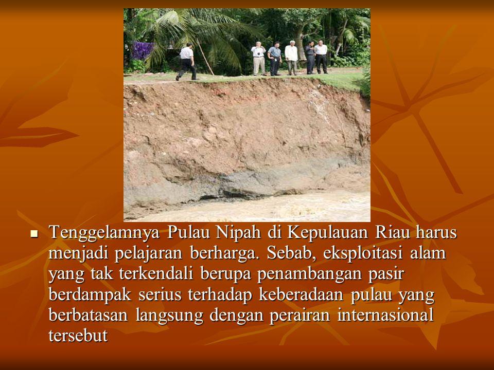 Tenggelamnya Pulau Nipah di Kepulauan Riau harus menjadi pelajaran berharga.