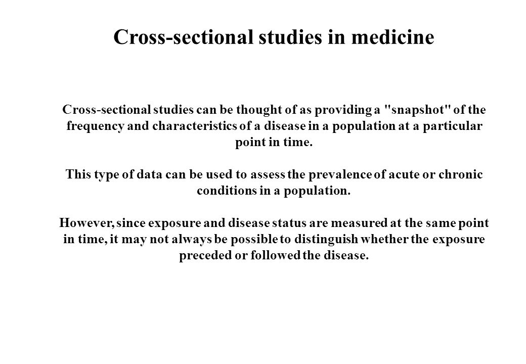 Cross-sectional studies in medicine