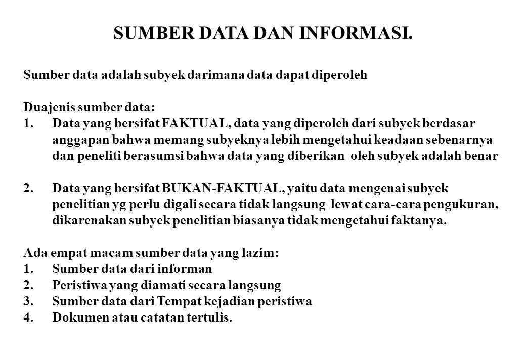 SUMBER DATA DAN INFORMASI.