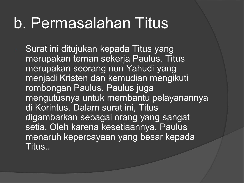 b. Permasalahan Titus