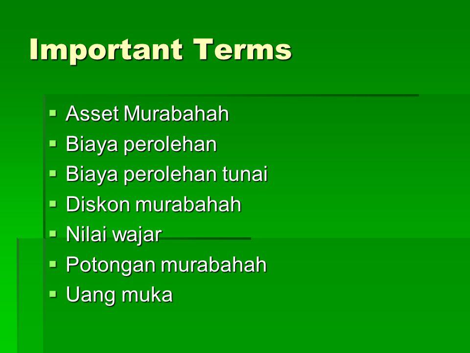 Important Terms Asset Murabahah Biaya perolehan Biaya perolehan tunai