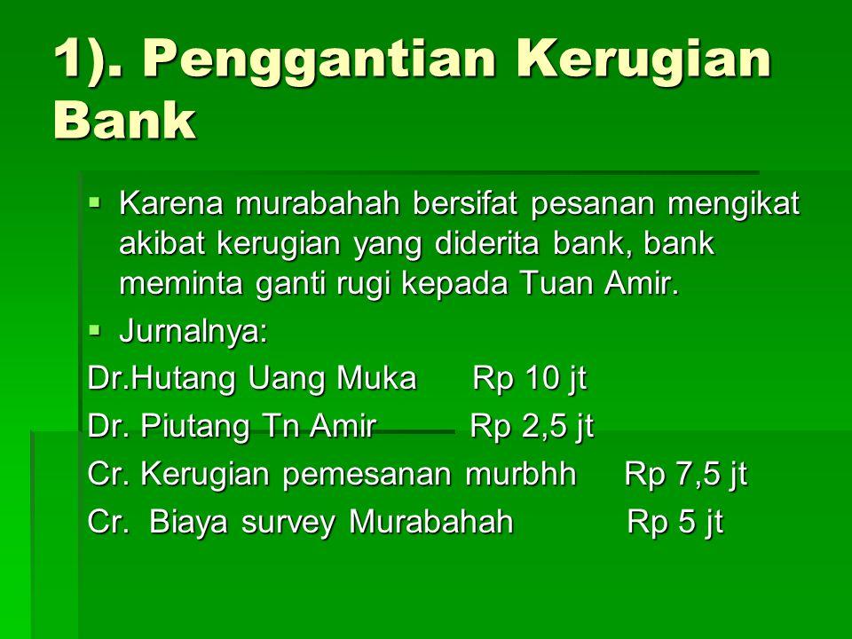 1). Penggantian Kerugian Bank