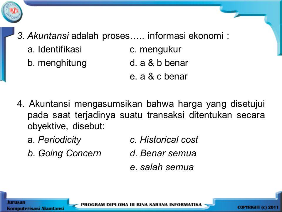 3. Akuntansi adalah proses….. informasi ekonomi :