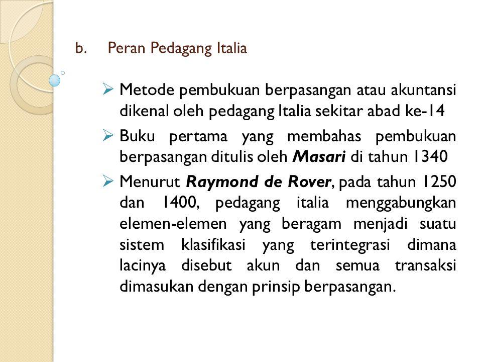 Peran Pedagang Italia Metode pembukuan berpasangan atau akuntansi dikenal oleh pedagang Italia sekitar abad ke-14.