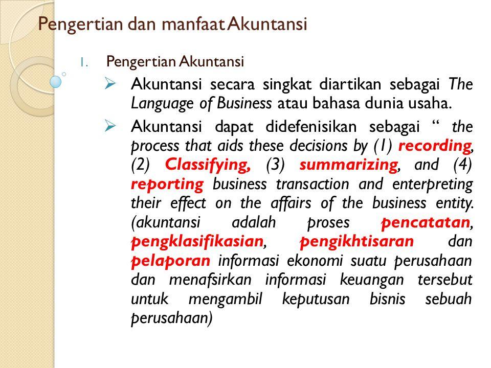 Pengertian dan manfaat Akuntansi
