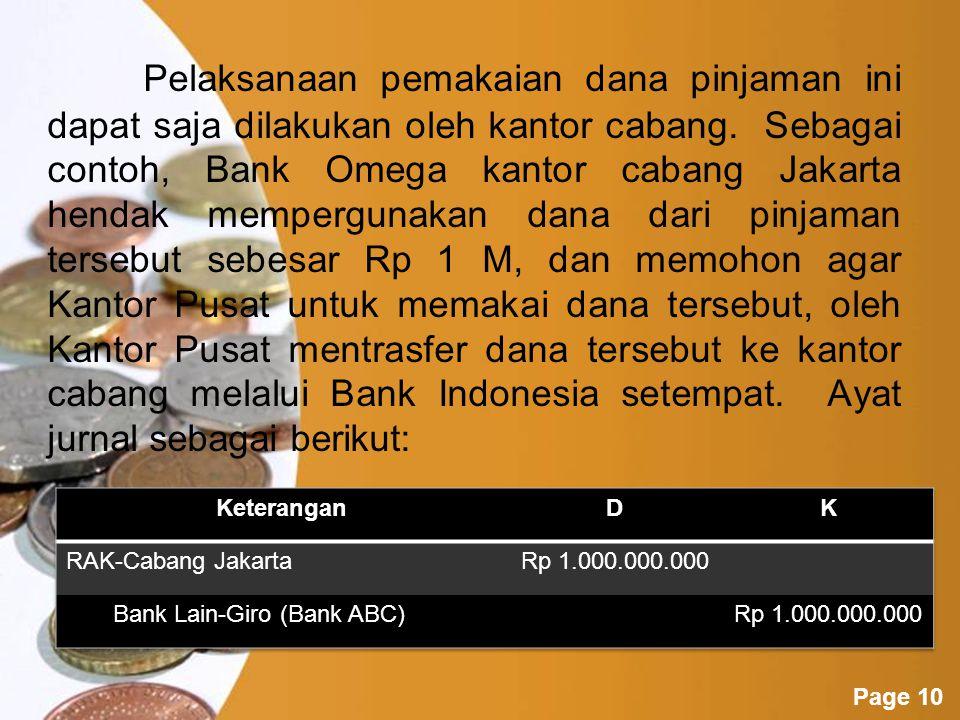 Pelaksanaan pemakaian dana pinjaman ini dapat saja dilakukan oleh kantor cabang. Sebagai contoh, Bank Omega kantor cabang Jakarta hendak mempergunakan dana dari pinjaman tersebut sebesar Rp 1 M, dan memohon agar Kantor Pusat untuk memakai dana tersebut, oleh Kantor Pusat mentrasfer dana tersebut ke kantor cabang melalui Bank Indonesia setempat. Ayat jurnal sebagai berikut:
