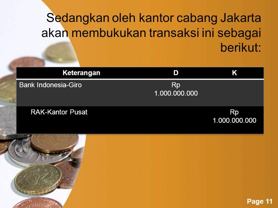 Sedangkan oleh kantor cabang Jakarta akan membukukan transaksi ini sebagai berikut: