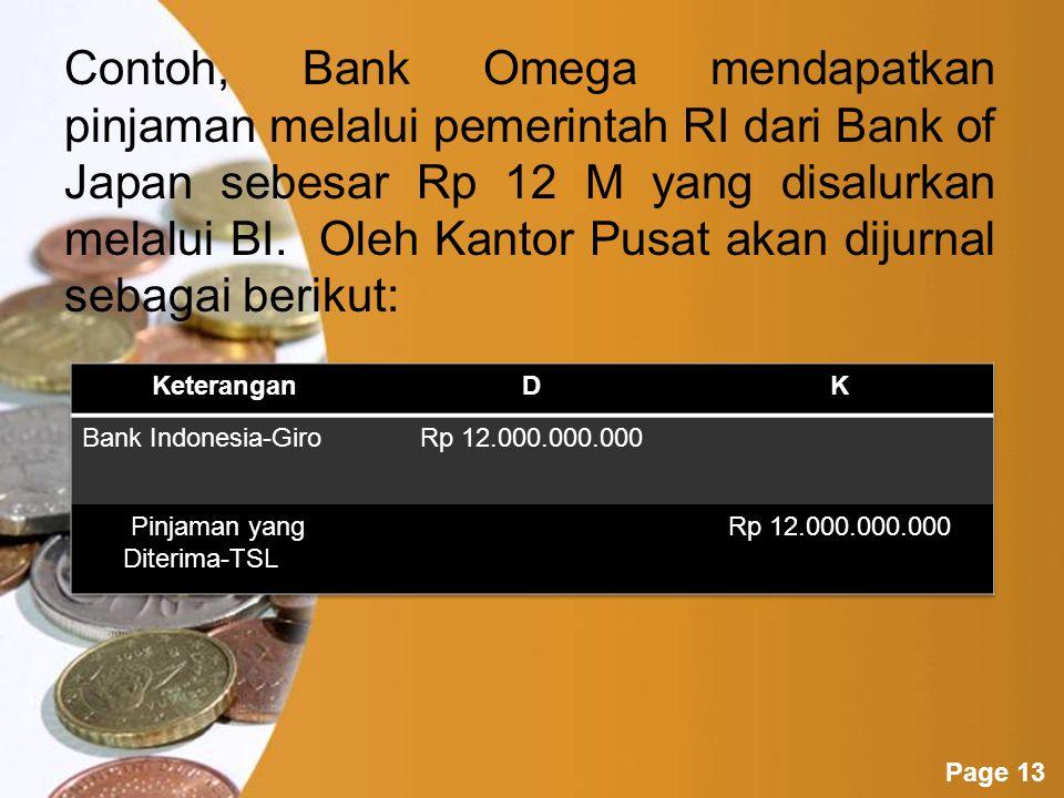 Contoh, Bank Omega mendapatkan pinjaman melalui pemerintah RI dari Bank of Japan sebesar Rp 12 M yang disalurkan melalui BI. Oleh Kantor Pusat akan dijurnal sebagai berikut: