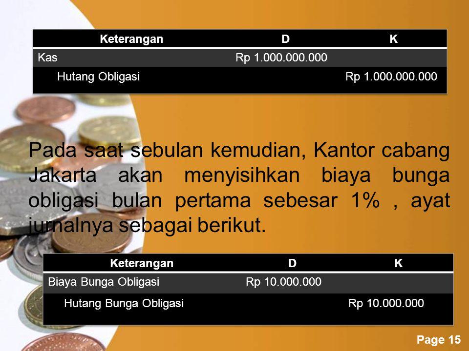 Pada saat sebulan kemudian, Kantor cabang Jakarta akan menyisihkan biaya bunga obligasi bulan pertama sebesar 1% , ayat jurnalnya sebagai berikut.