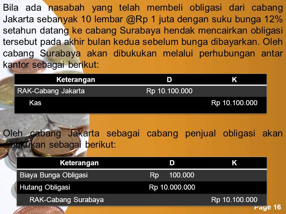 Bila ada nasabah yang telah membeli obligasi dari cabang Jakarta sebanyak 10 lembar @Rp 1 juta dengan suku bunga 12% setahun datang ke cabang Surabaya hendak mencairkan obligasi tersebut pada akhir bulan kedua sebelum bunga dibayarkan. Oleh cabang Surabaya akan dibukukan melalui perhubungan antar kantor sebagai berikut: Oleh cabang Jakarta sebagai cabang penjual obligasi akan dibukukan sebagai berikut: