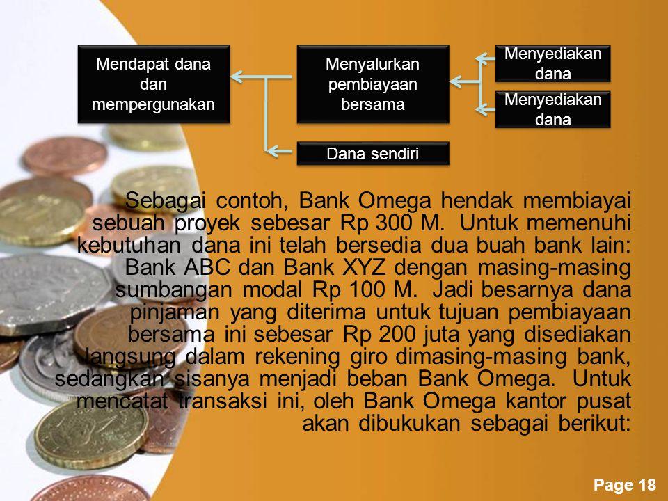 Sebagai contoh, Bank Omega hendak membiayai sebuah proyek sebesar Rp 300 M. Untuk memenuhi kebutuhan dana ini telah bersedia dua buah bank lain: Bank ABC dan Bank XYZ dengan masing-masing sumbangan modal Rp 100 M. Jadi besarnya dana pinjaman yang diterima untuk tujuan pembiayaan bersama ini sebesar Rp 200 juta yang disediakan langsung dalam rekening giro dimasing-masing bank, sedangkan sisanya menjadi beban Bank Omega. Untuk mencatat transaksi ini, oleh Bank Omega kantor pusat akan dibukukan sebagai berikut: