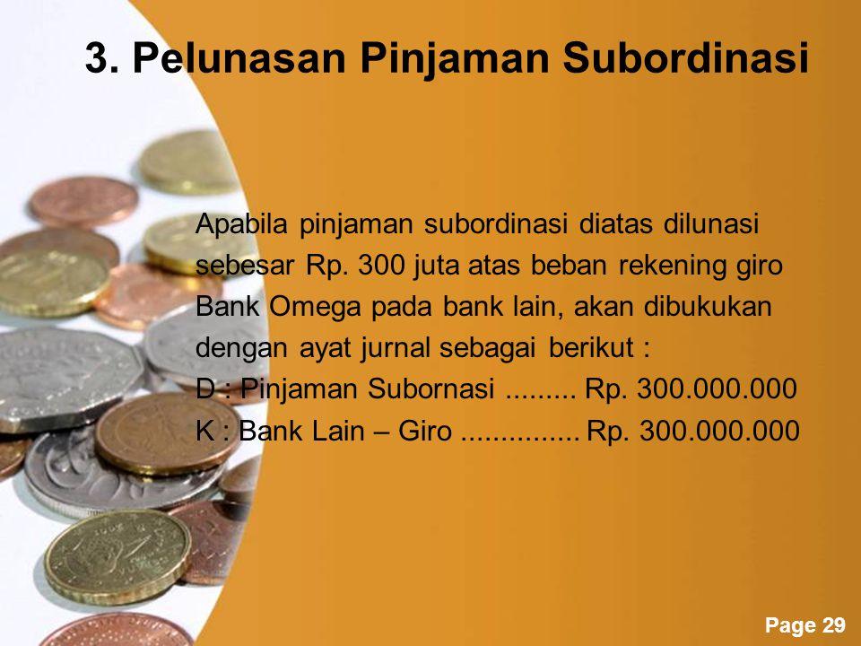 3. Pelunasan Pinjaman Subordinasi