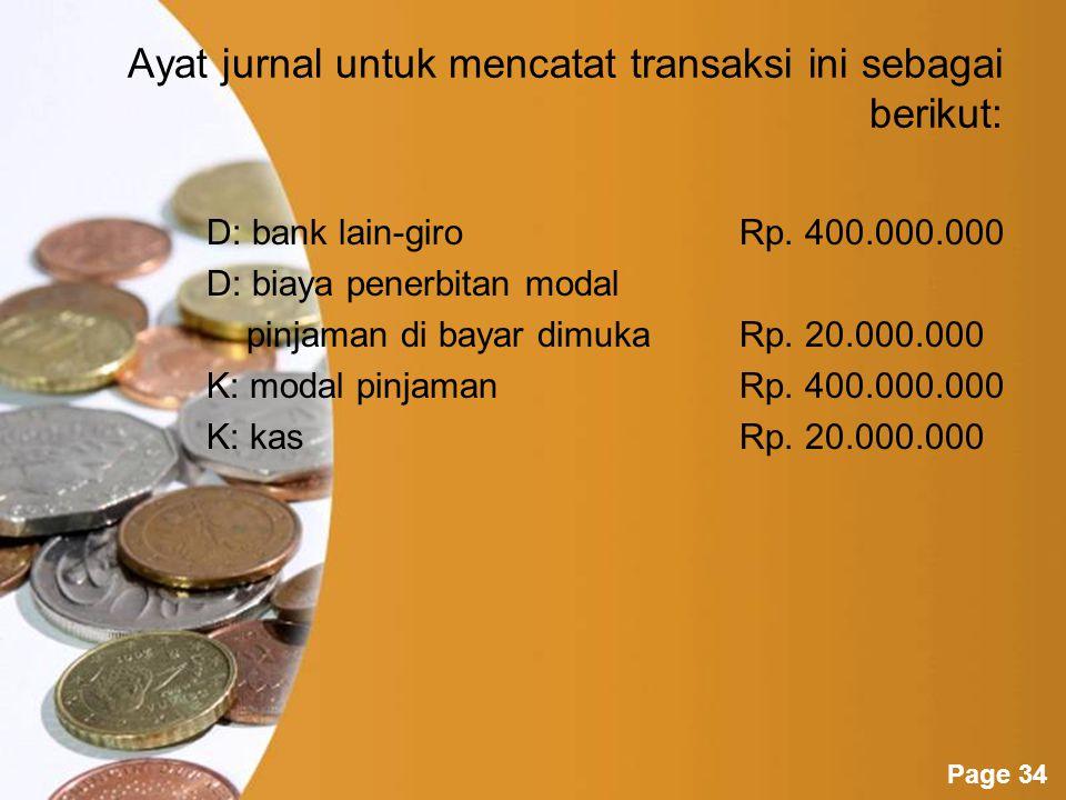 Ayat jurnal untuk mencatat transaksi ini sebagai berikut: