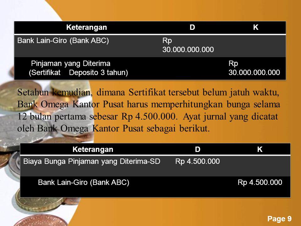 Keterangan D. K. Bank Lain-Giro (Bank ABC) Rp 30.000.000.000. Pinjaman yang Diterima (Sertifikat Deposito 3 tahun)