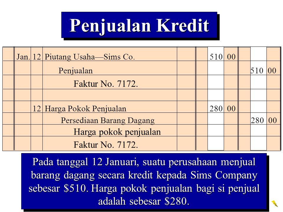Penjualan Kredit Jan. 12 Piutang Usaha—Sims Co. 510 00. Penjualan 510 00. Faktur No. 7172.
