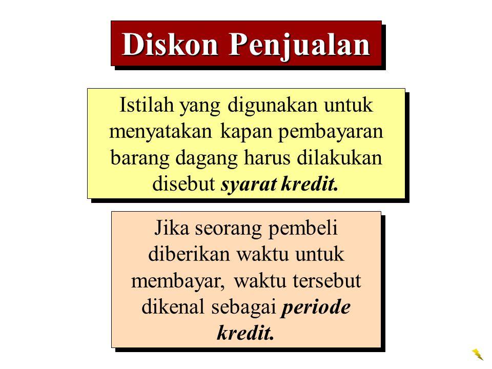 Diskon Penjualan Istilah yang digunakan untuk menyatakan kapan pembayaran barang dagang harus dilakukan disebut syarat kredit.