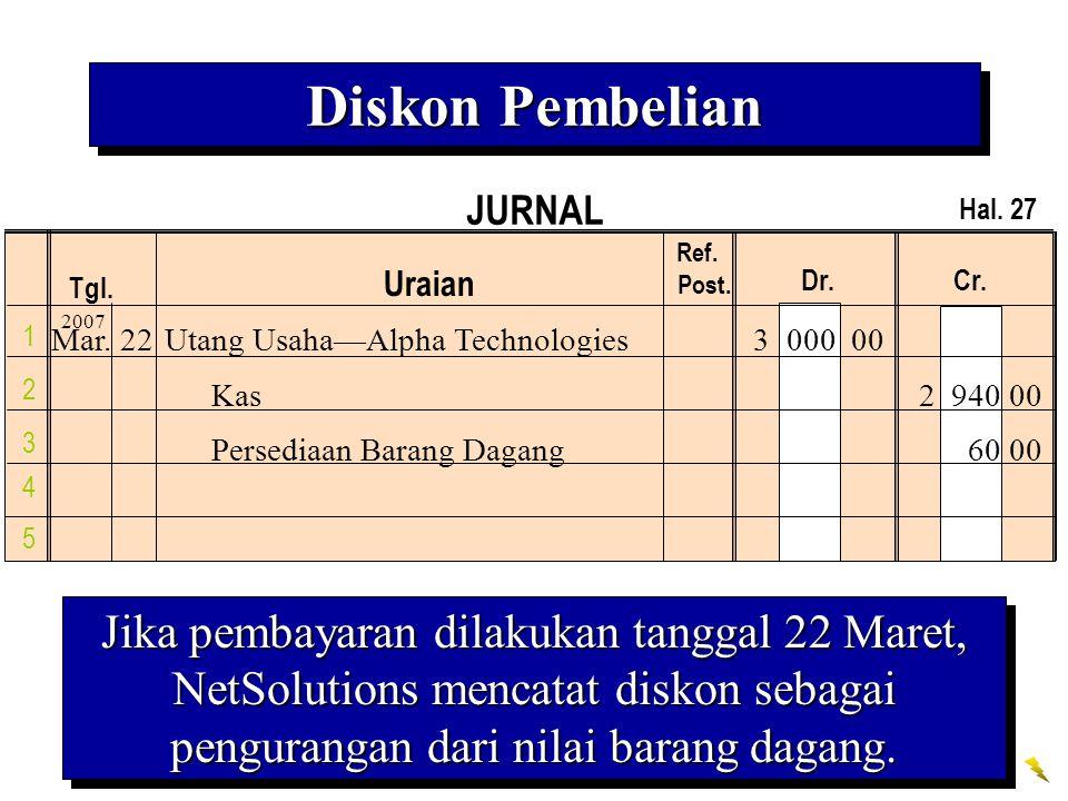 Diskon Pembelian JURNAL. Hal. 27. Ref. Post. Uraian. Dr. Cr. Tgl. 2007. 1.