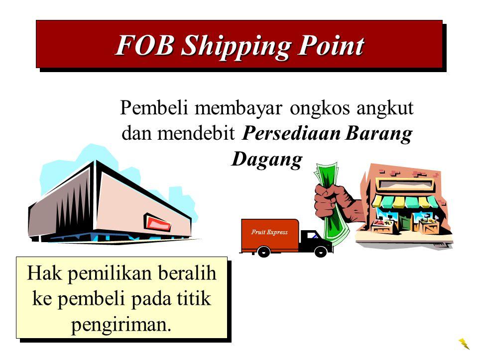 FOB Shipping Point Pembeli membayar ongkos angkut dan mendebit Persediaan Barang Dagang. Fruit Express.