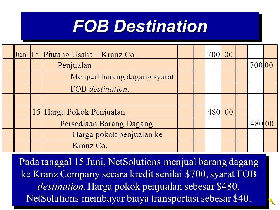 FOB Destination Jun. 15 Piutang Usaha—Kranz Co. 700 00. Penjualan 700 00. Menjual barang dagang syarat FOB destination.