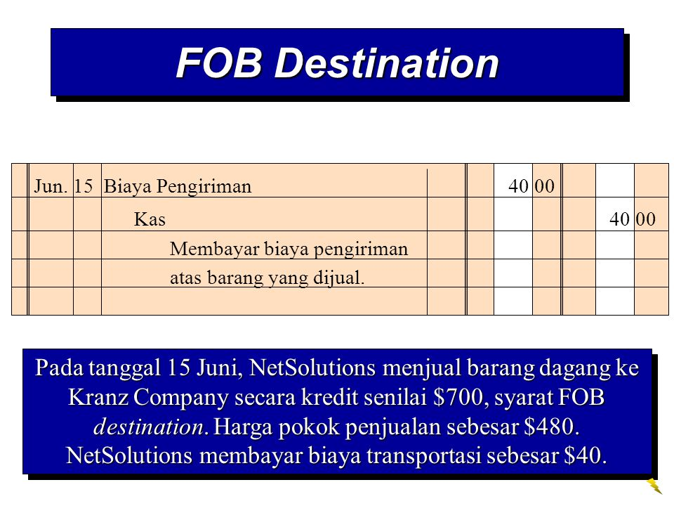 FOB Destination Jun. 15 Biaya Pengiriman 40 00. Kas 40 00. Membayar biaya pengiriman atas barang yang dijual.