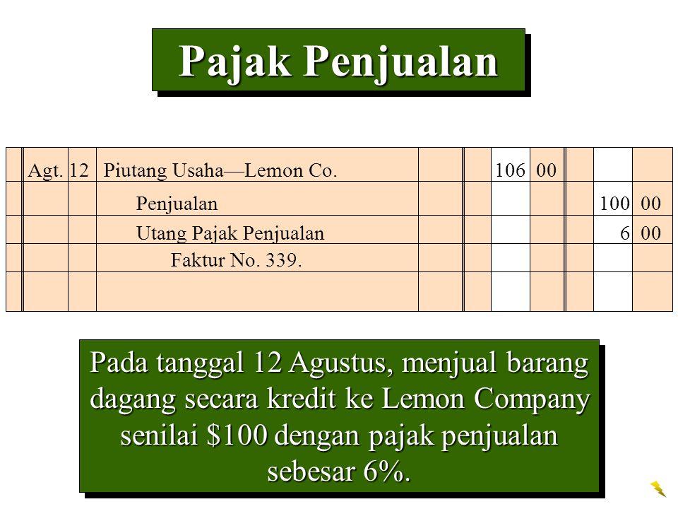 Pajak Penjualan Agt. 12 Piutang Usaha—Lemon Co. 106 00. Penjualan 100 00. Utang Pajak Penjualan 6 00.