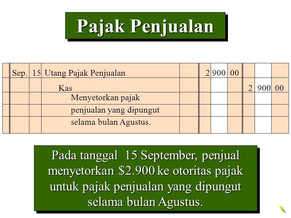 Pajak Penjualan Sep. 15 Utang Pajak Penjualan 2 900 00. Kas 2 900 00. Menyetorkan pajak penjualan yang dipungut selama bulan Agustus.