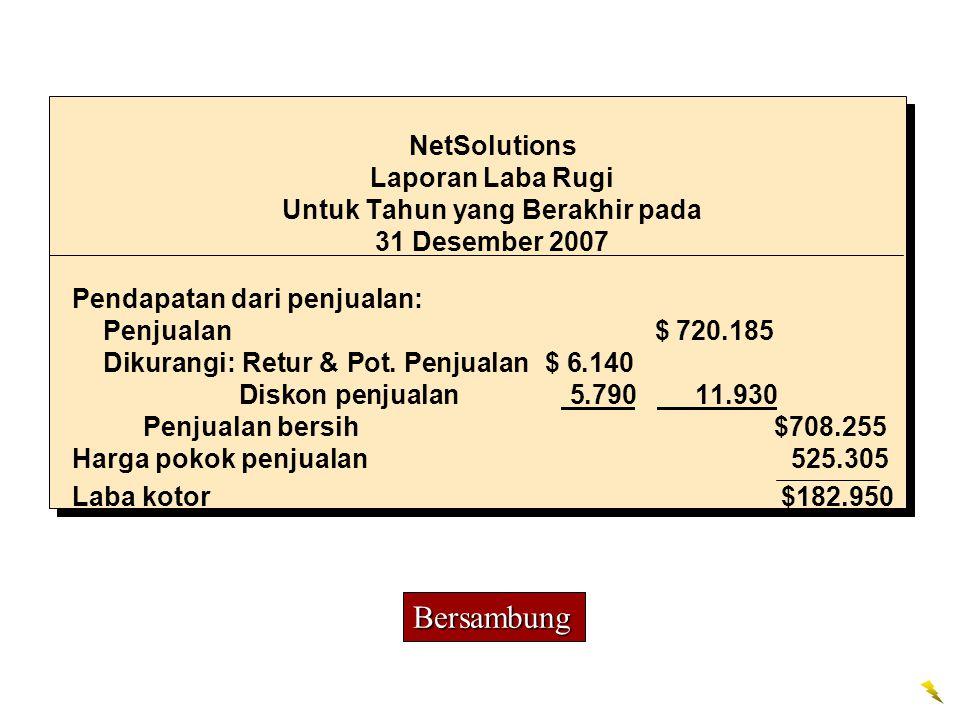 NetSolutions Laporan Laba Rugi Untuk Tahun yang Berakhir pada 31 Desember 2007
