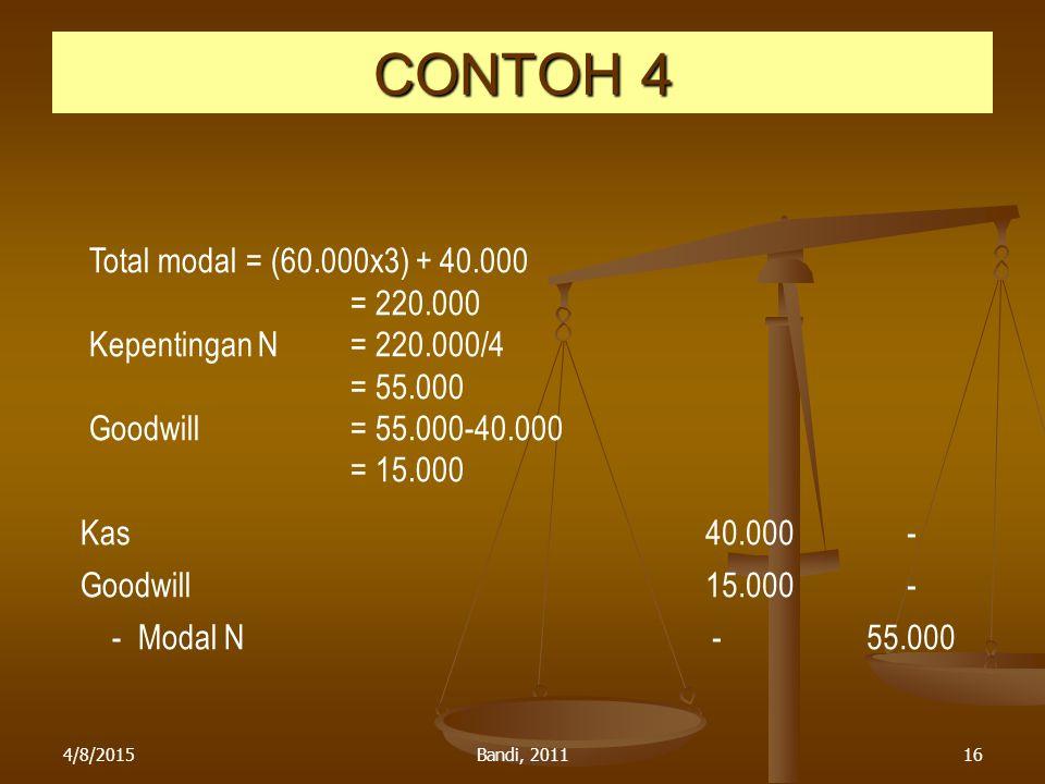 CONTOH 4 Total modal = (60.000x3) + 40.000 = 220.000