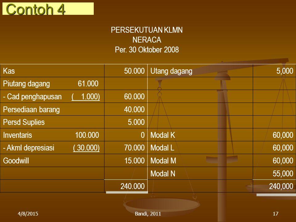 Contoh 4 PERSEKUTUAN KLMN NERACA Per. 30 Oktober 2008 Kas 50.000
