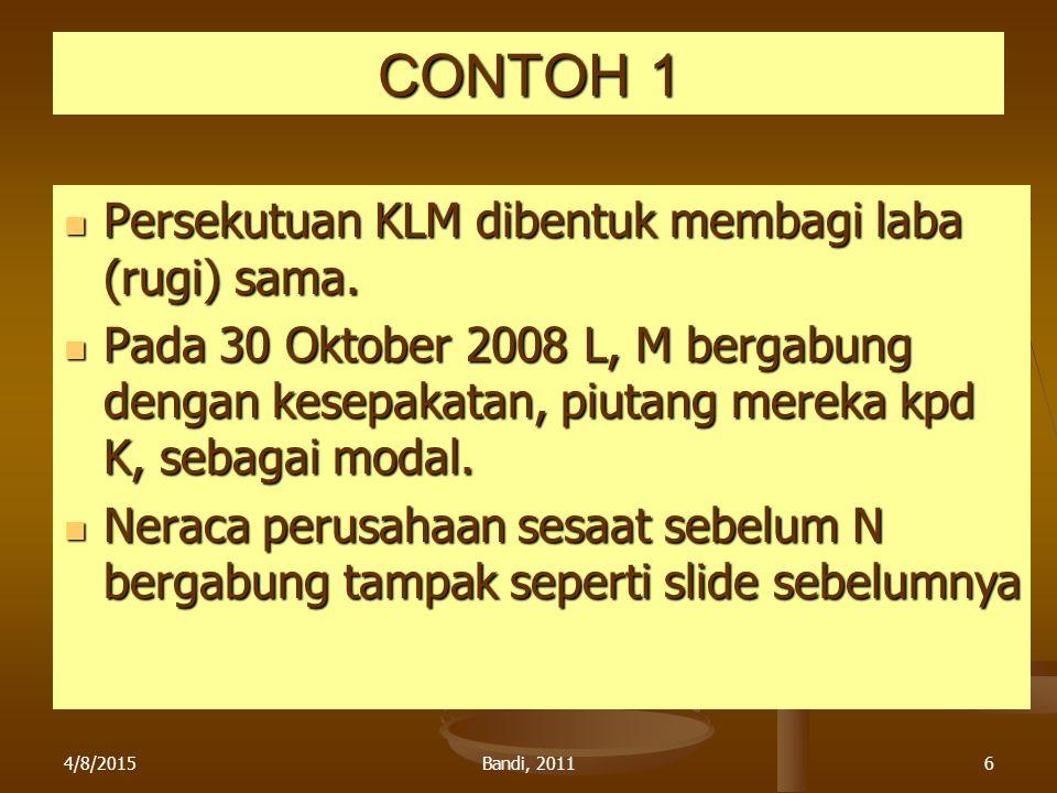CONTOH 1 Persekutuan KLM dibentuk membagi laba (rugi) sama.