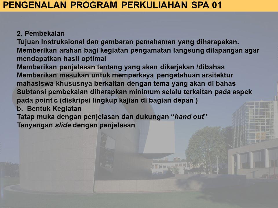 2. Pembekalan Tujuan Instruksional dan gambaran pemahaman yang diharapakan.