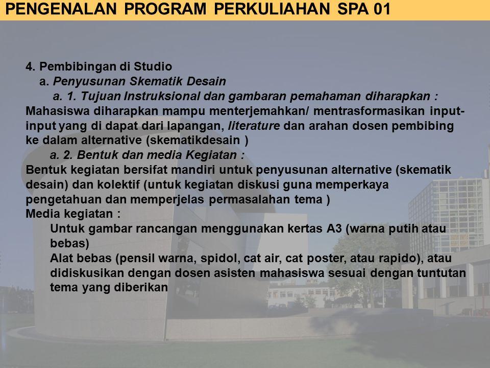 4. Pembibingan di Studio a. Penyusunan Skematik Desain. a. 1. Tujuan Instruksional dan gambaran pemahaman diharapkan :