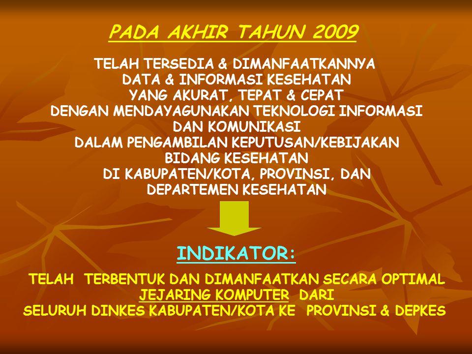 PADA AKHIR TAHUN 2009 INDIKATOR: