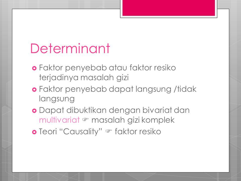 Determinant Faktor penyebab atau faktor resiko terjadinya masalah gizi