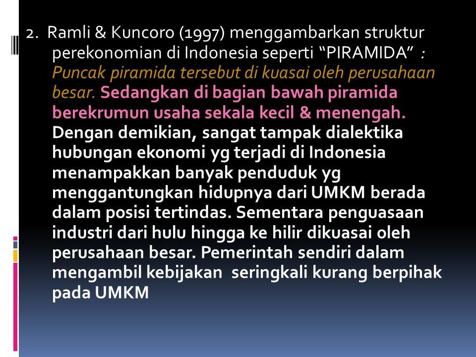 2. Ramli & Kuncoro (1997) menggambarkan struktur perekonomian di Indonesia seperti PIRAMIDA : Puncak piramida tersebut di kuasai oleh perusahaan besar. Sedangkan di bagian bawah piramida berekrumun usaha sekala kecil & menengah.