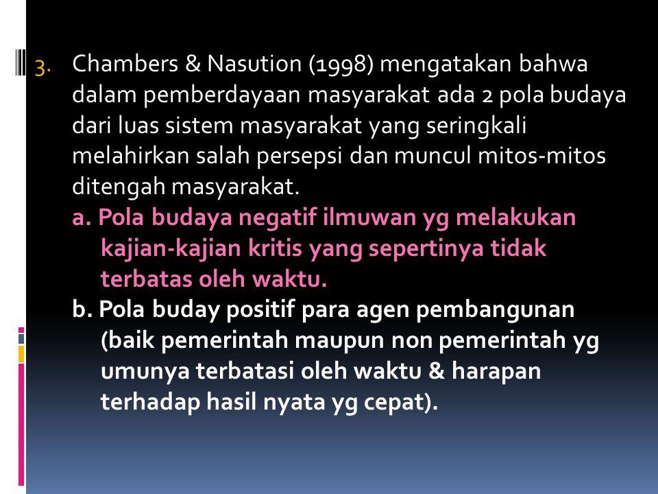 Chambers & Nasution (1998) mengatakan bahwa dalam pemberdayaan masyarakat ada 2 pola budaya dari luas sistem masyarakat yang seringkali melahirkan salah persepsi dan muncul mitos-mitos ditengah masyarakat.
