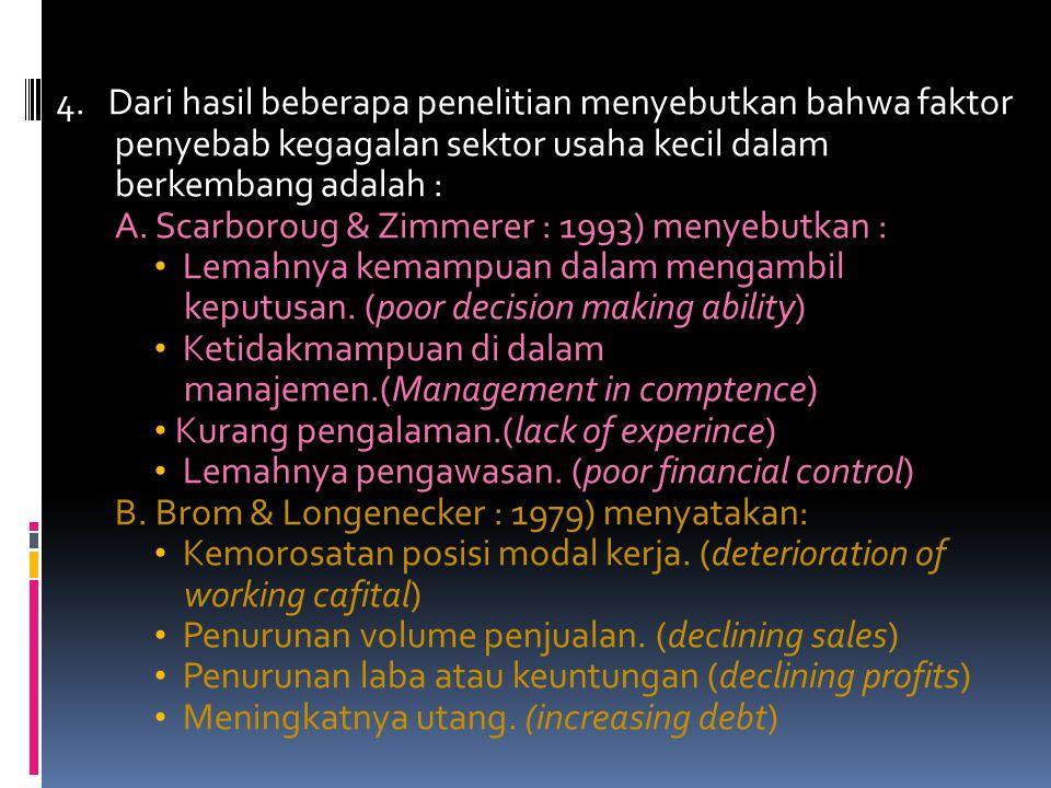 4. Dari hasil beberapa penelitian menyebutkan bahwa faktor penyebab kegagalan sektor usaha kecil dalam berkembang adalah :