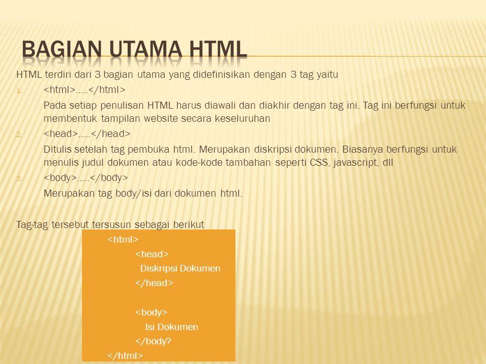 Bagian utama html HTML terdiri dari 3 bagian utama yang didefinisikan dengan 3 tag yaitu. <html>.....</html>