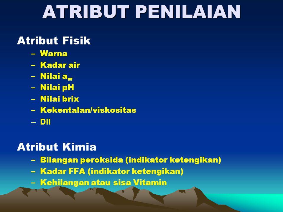 ATRIBUT PENILAIAN Atribut Fisik Atribut Kimia Warna Kadar air Nilai aw