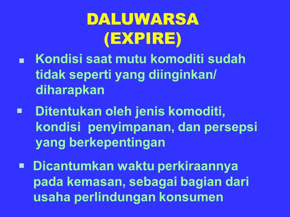 DALUWARSA (EXPIRE) Kondisi saat mutu komoditi sudah tidak seperti yang diinginkan/ diharapkan.