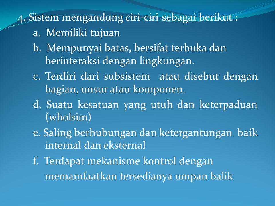 4. Sistem mengandung ciri-ciri sebagai berikut :
