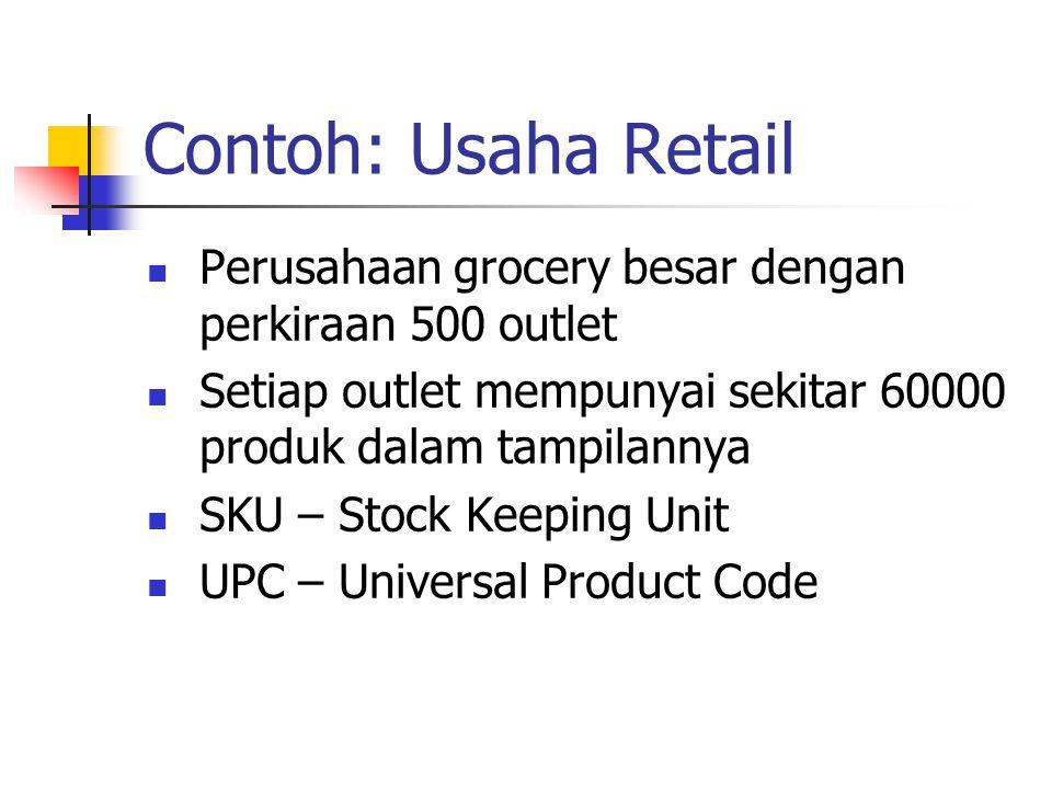 Contoh: Usaha Retail Perusahaan grocery besar dengan perkiraan 500 outlet. Setiap outlet mempunyai sekitar 60000 produk dalam tampilannya.