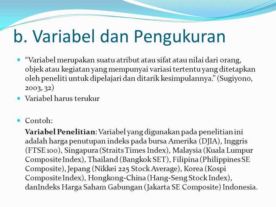 b. Variabel dan Pengukuran