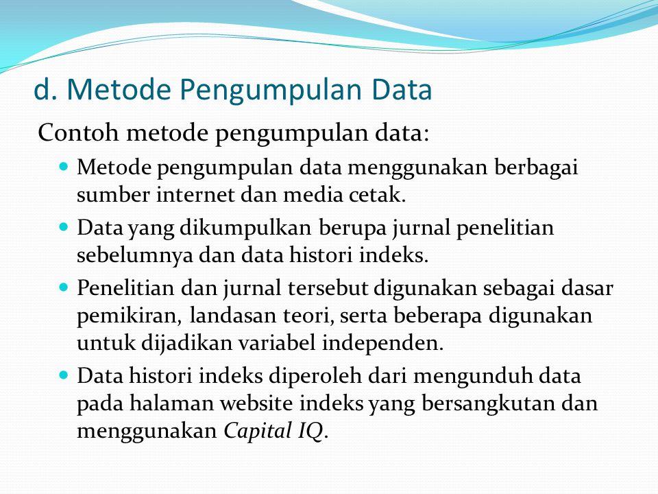 d. Metode Pengumpulan Data
