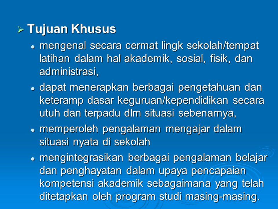 Tujuan Khusus mengenal secara cermat lingk sekolah/tempat latihan dalam hal akademik, sosial, fisik, dan administrasi,