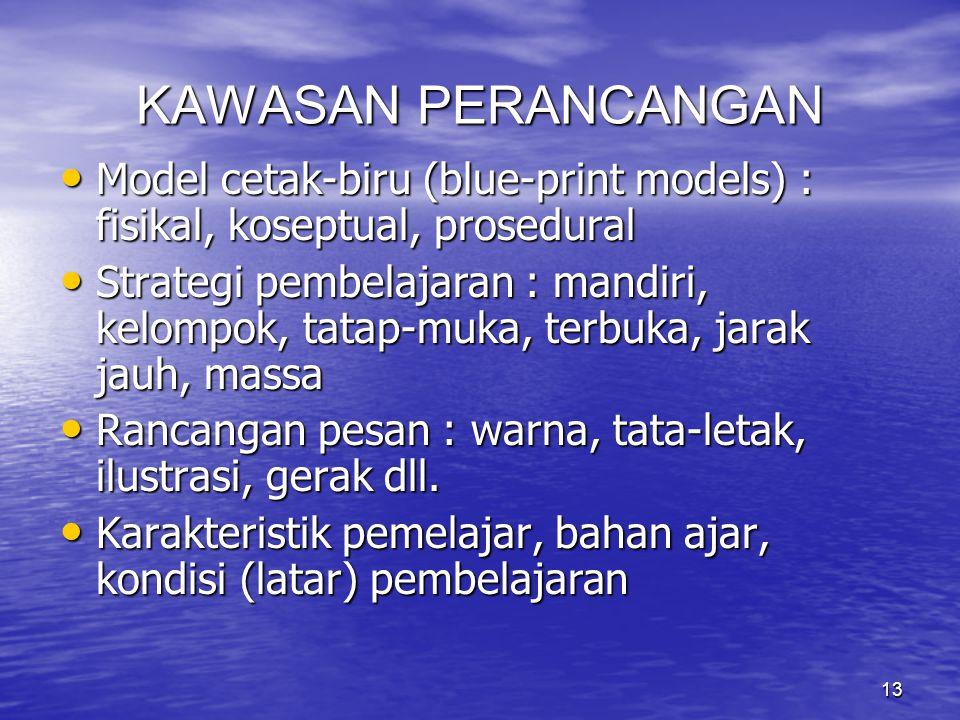 KAWASAN PERANCANGAN Model cetak-biru (blue-print models) : fisikal, koseptual, prosedural.