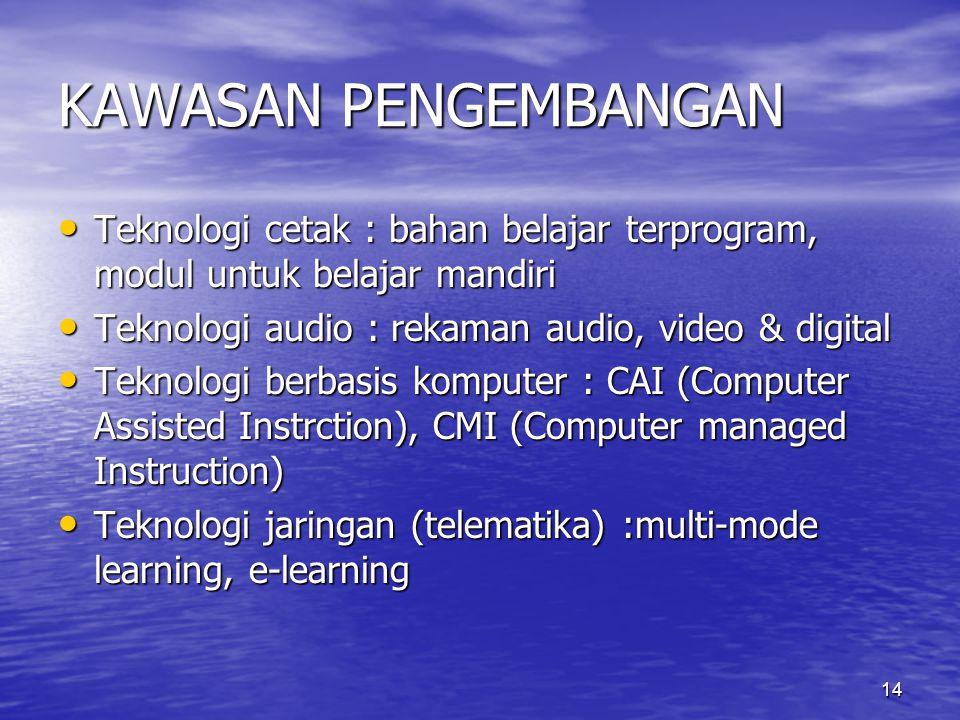 KAWASAN PENGEMBANGAN Teknologi cetak : bahan belajar terprogram, modul untuk belajar mandiri. Teknologi audio : rekaman audio, video & digital.
